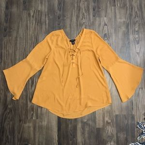 Mustard Yellow Bell-Sleeved Shirt